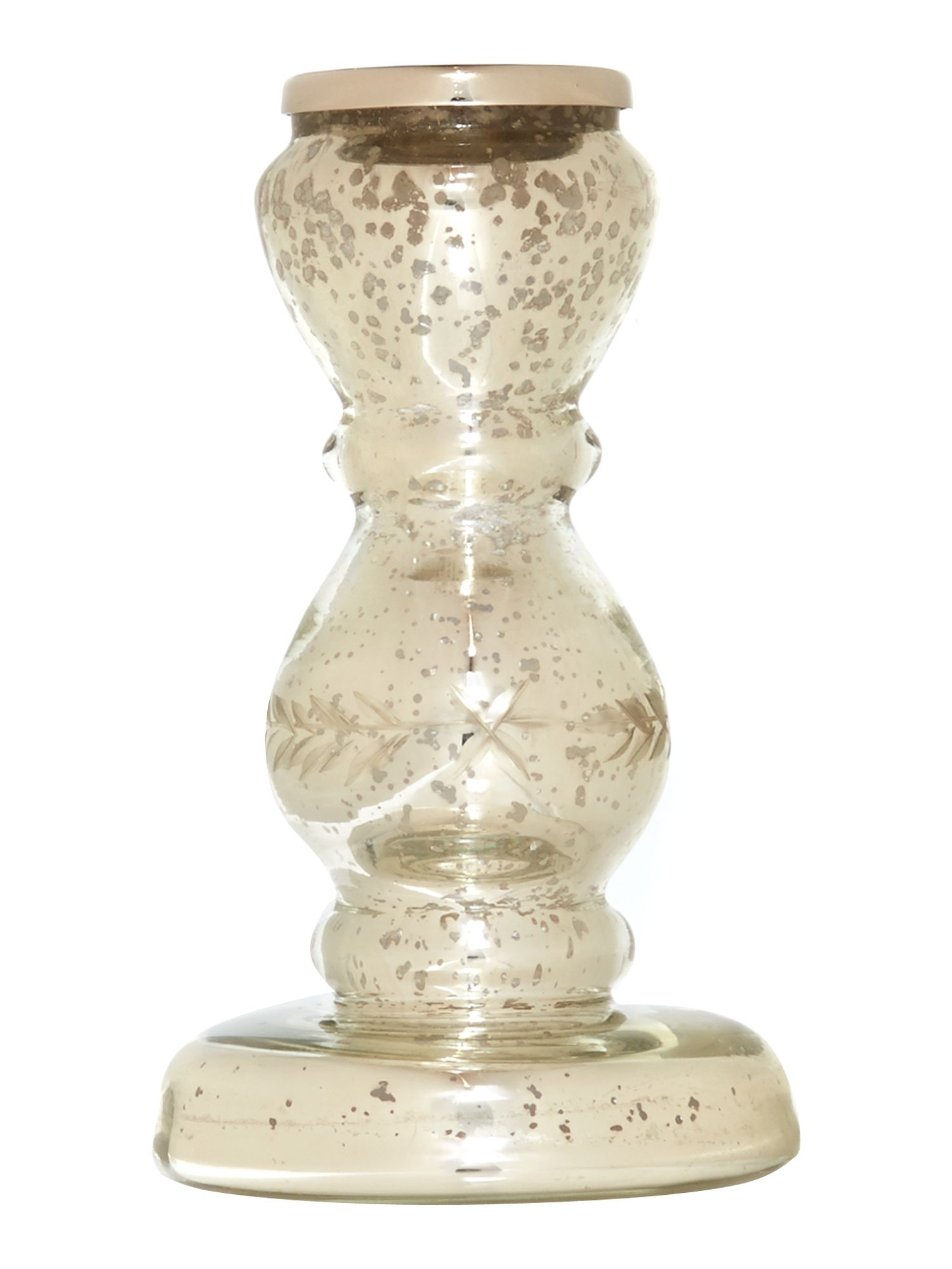 Mercury glass small candle stick