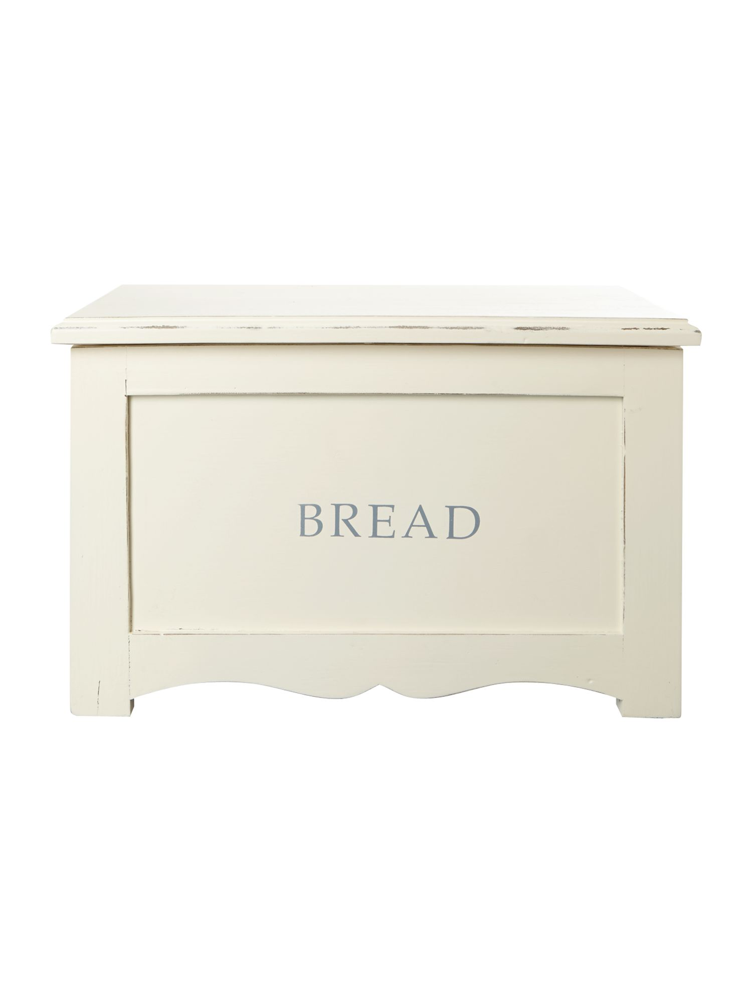 Distressed white bread bin