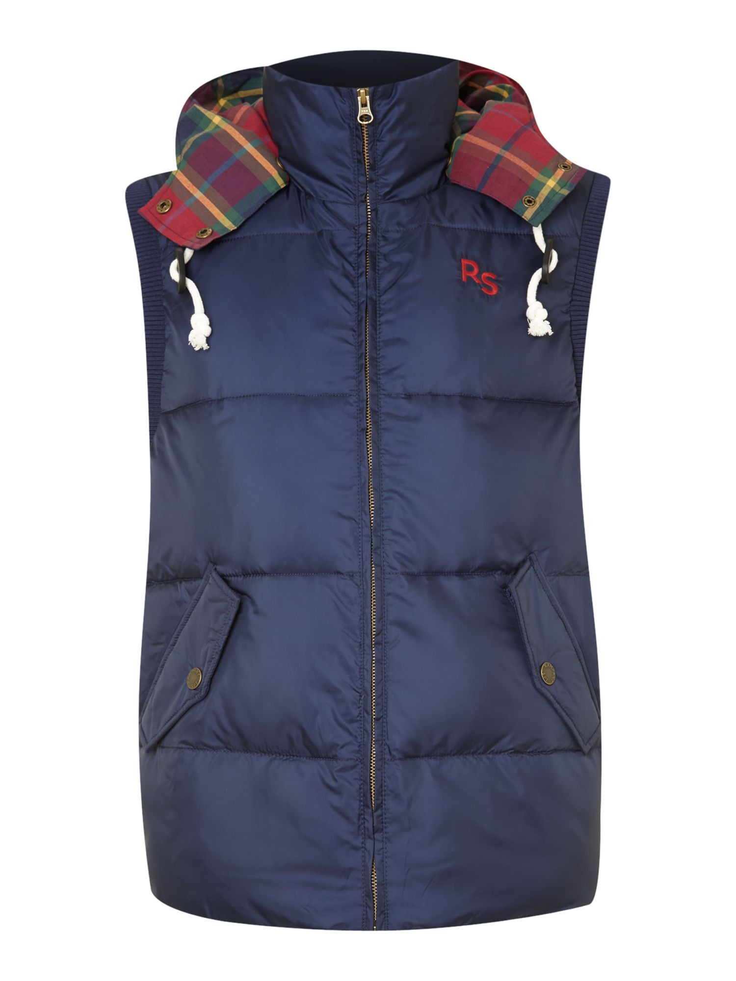 Check hooded logo gilet