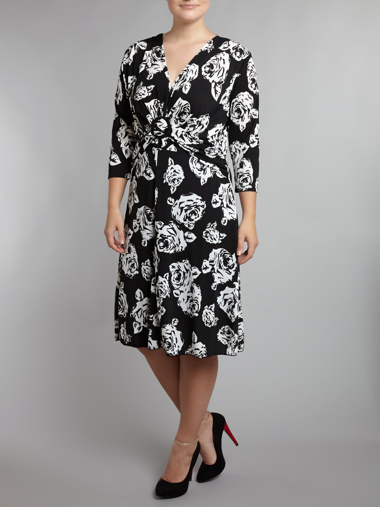 Rose print twist dress