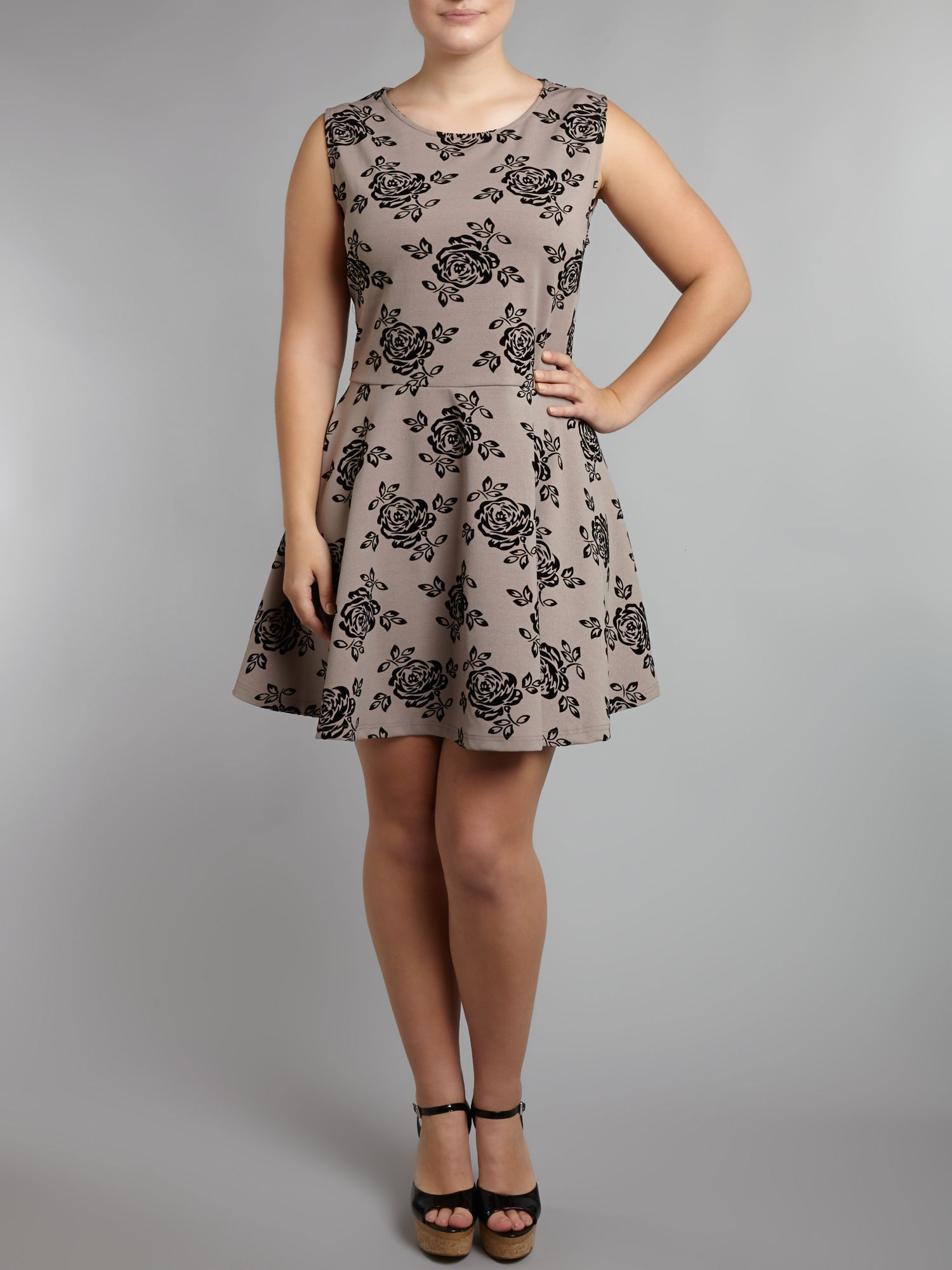 Rose flock skater dress