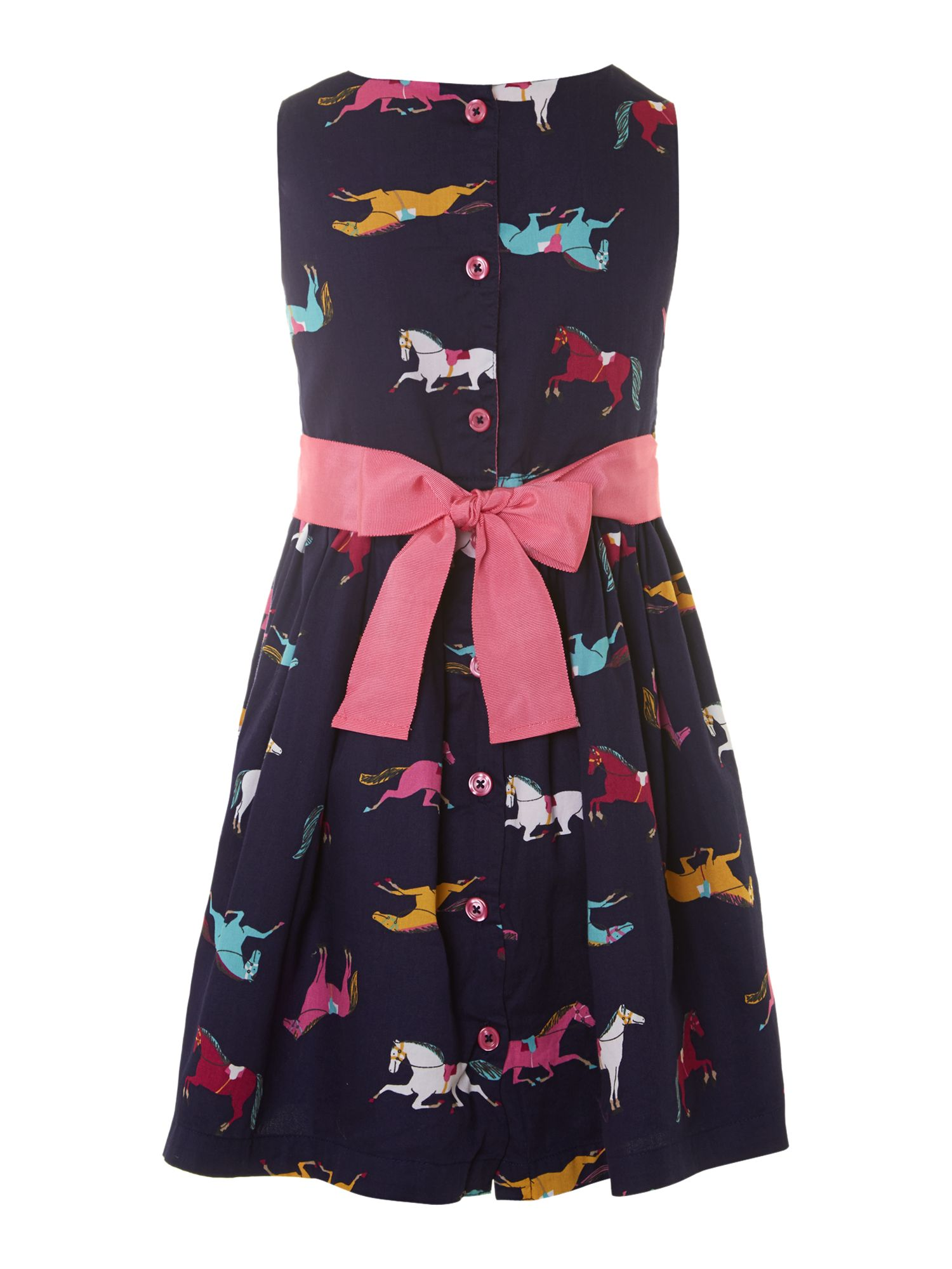 Girl`s sleeveless horse print dress