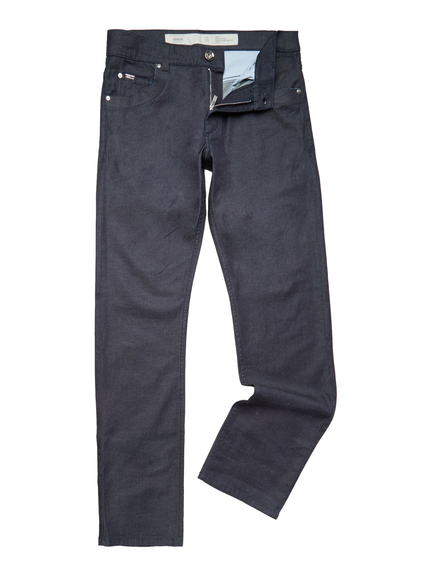 Raw edged coated regular fit jeans