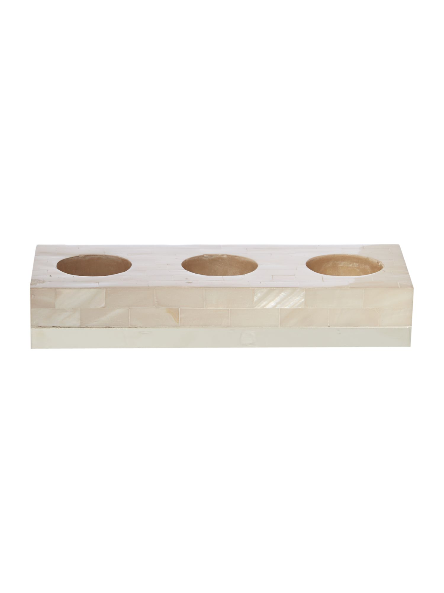 Mother of pearl tea light holder trio