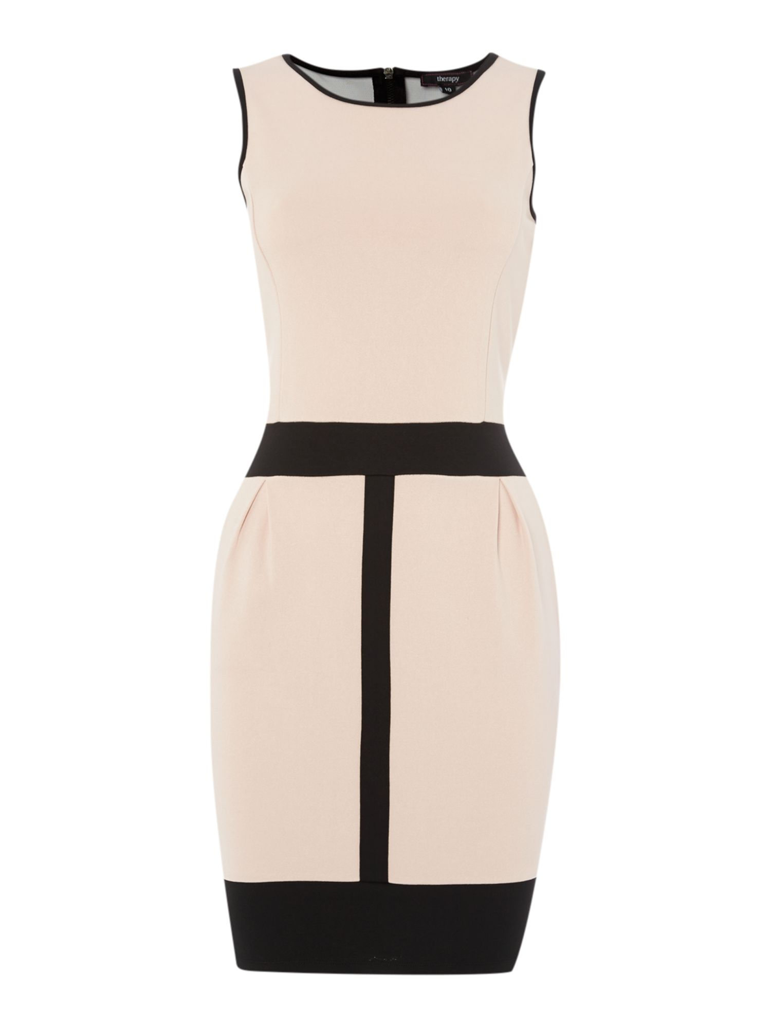 Colour block mesh detail ponte dress