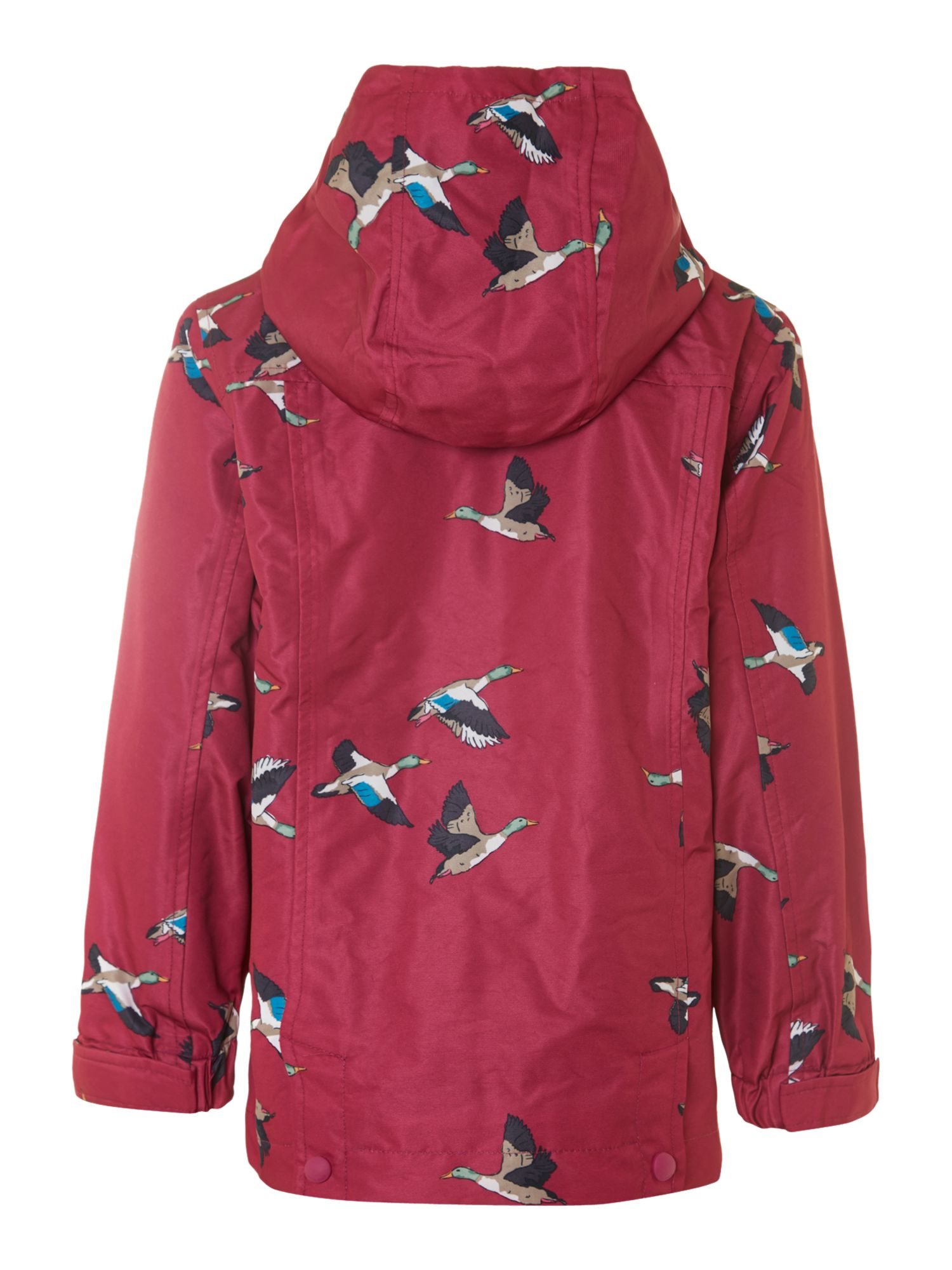 Girl`s duck print hooded rain coat