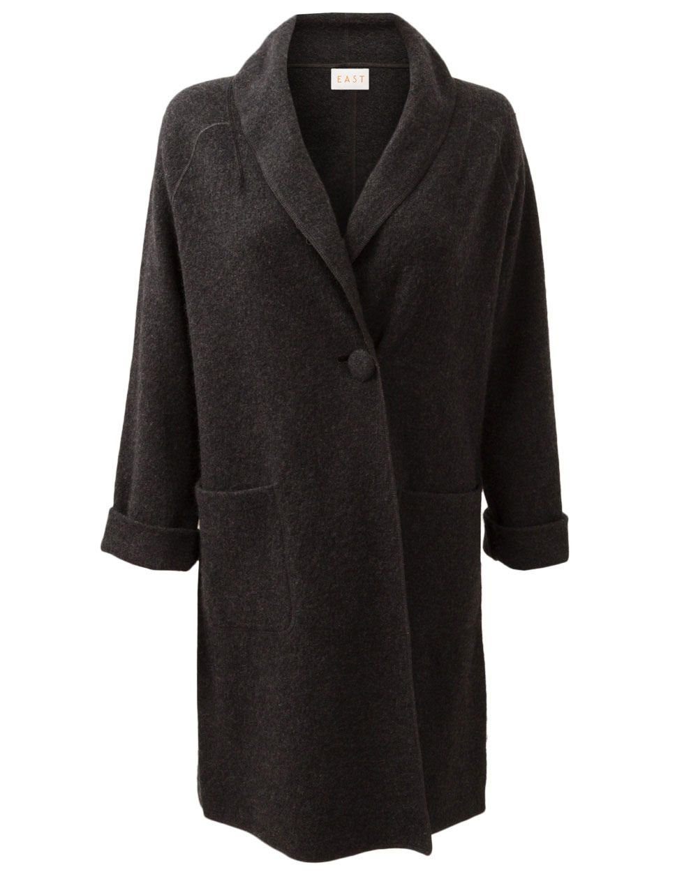 Boiled wool shawl coat