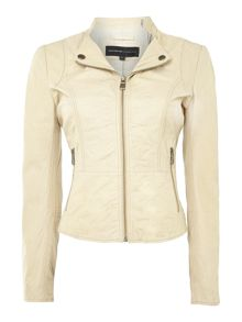 Zip up revere leather jacket