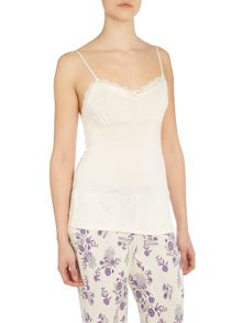 Jersey lace pleated camisole