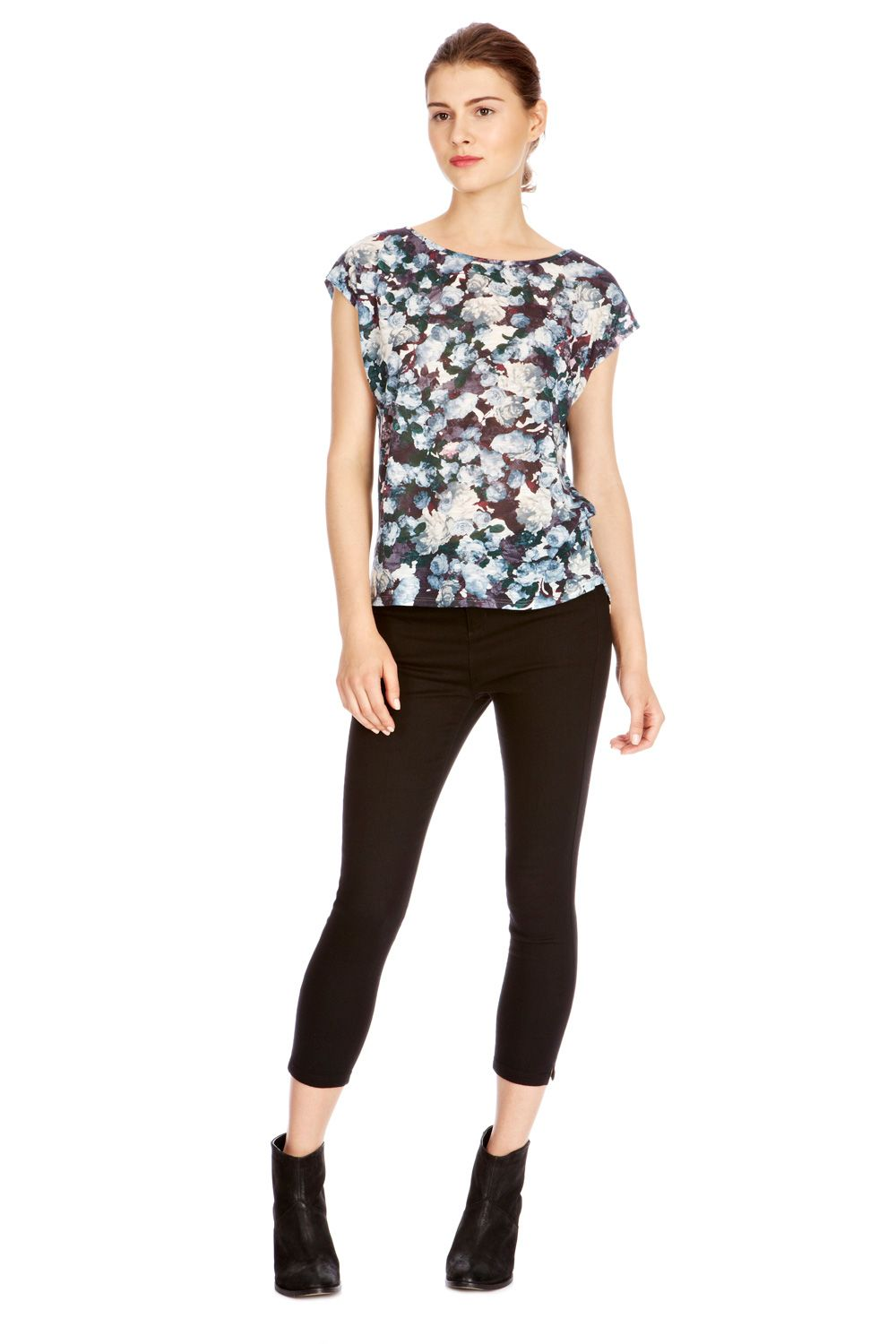 Smudge floral slub top