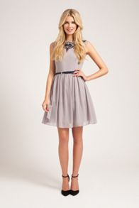 Slash neck fit and flare dress