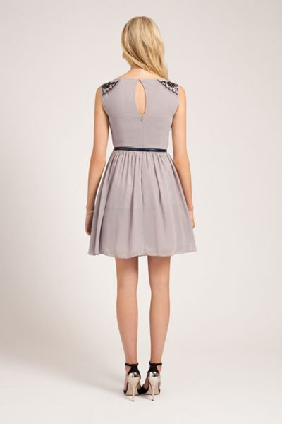 Little Mistress Slash neck fit and flare dress
