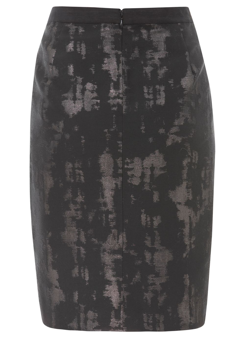 Black & pewter jacquard pencil skirt