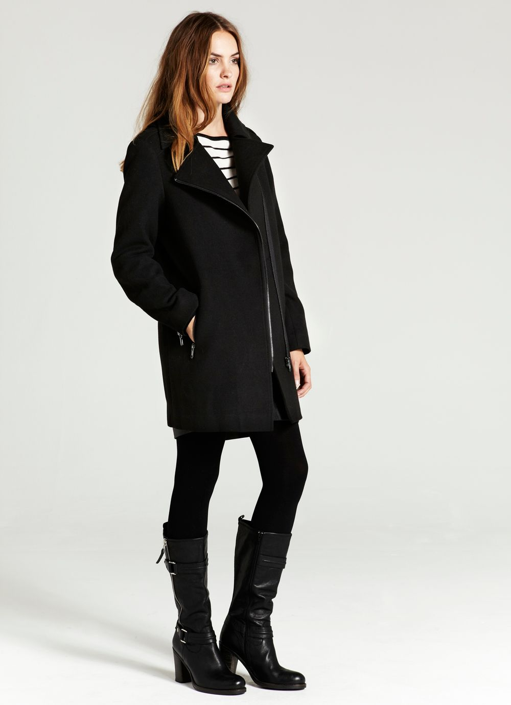 Black asymmetric biker coat