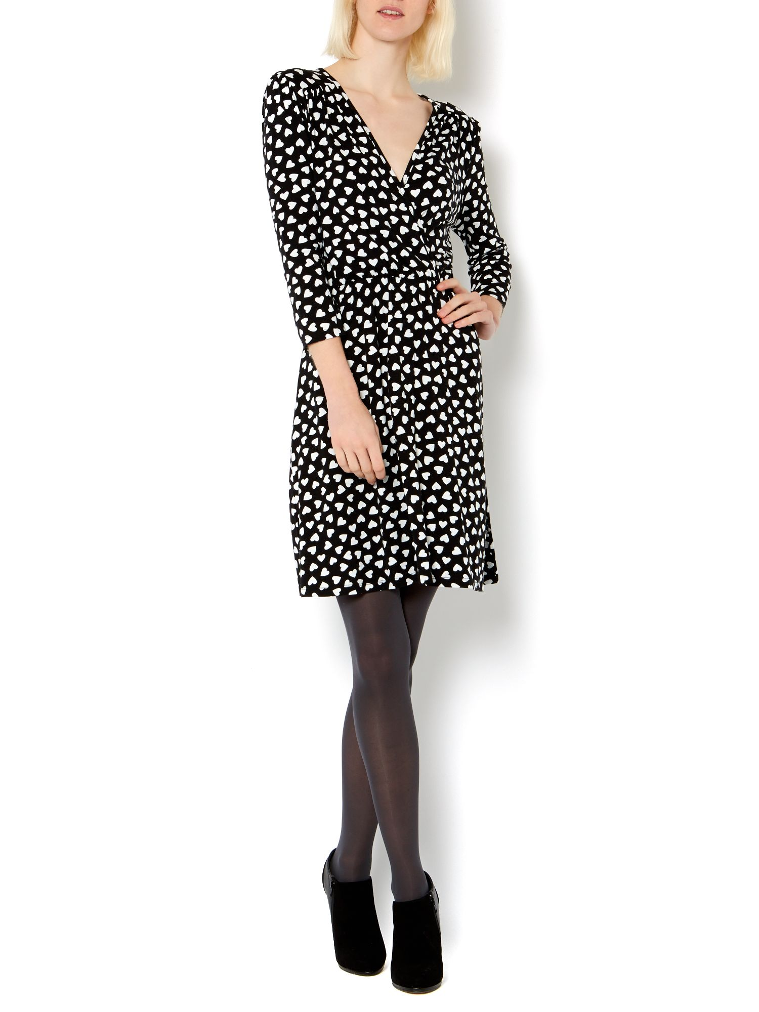 Heart print jersey wrap dress