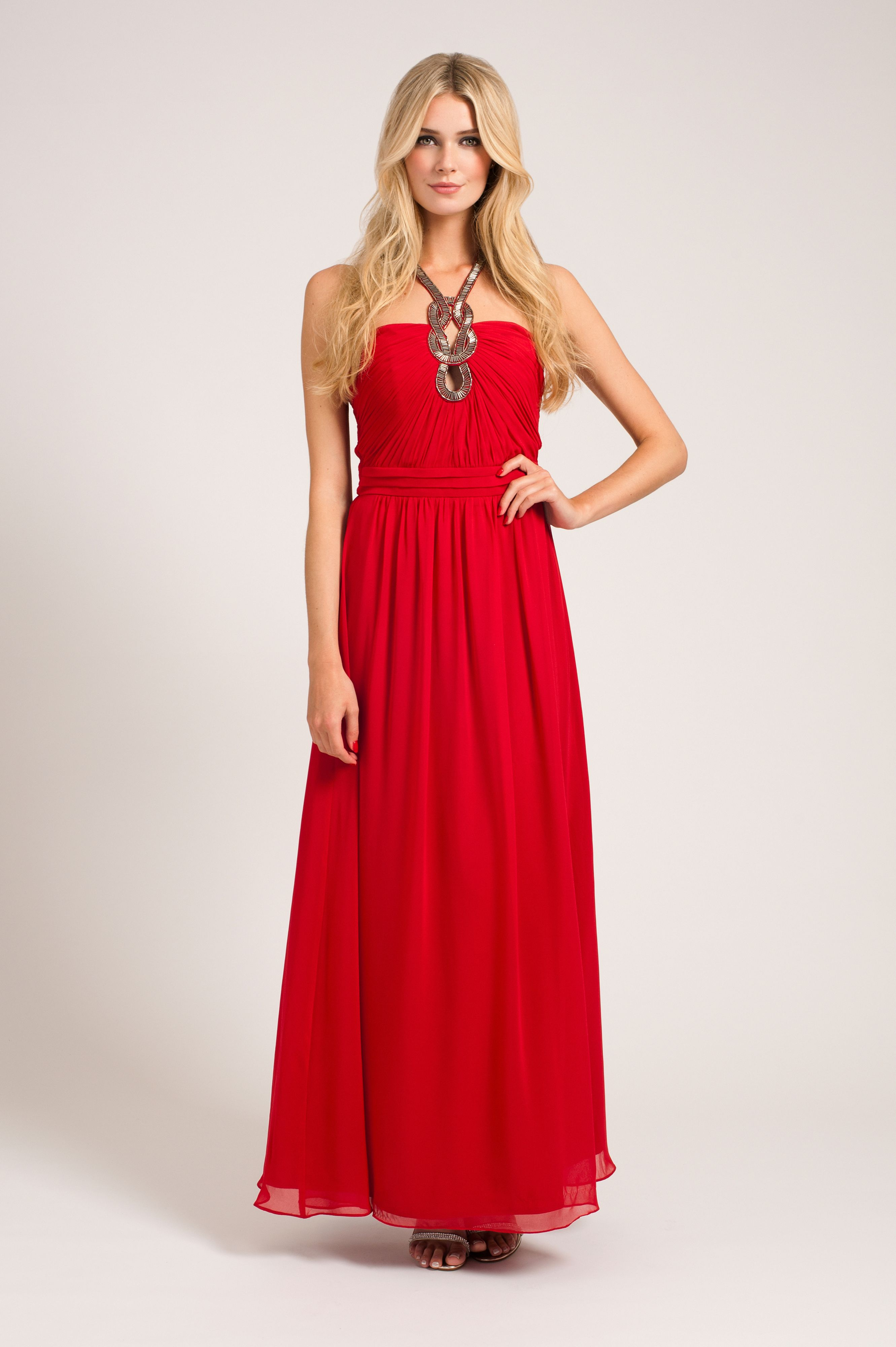 Chain detail halter neck maxi dress