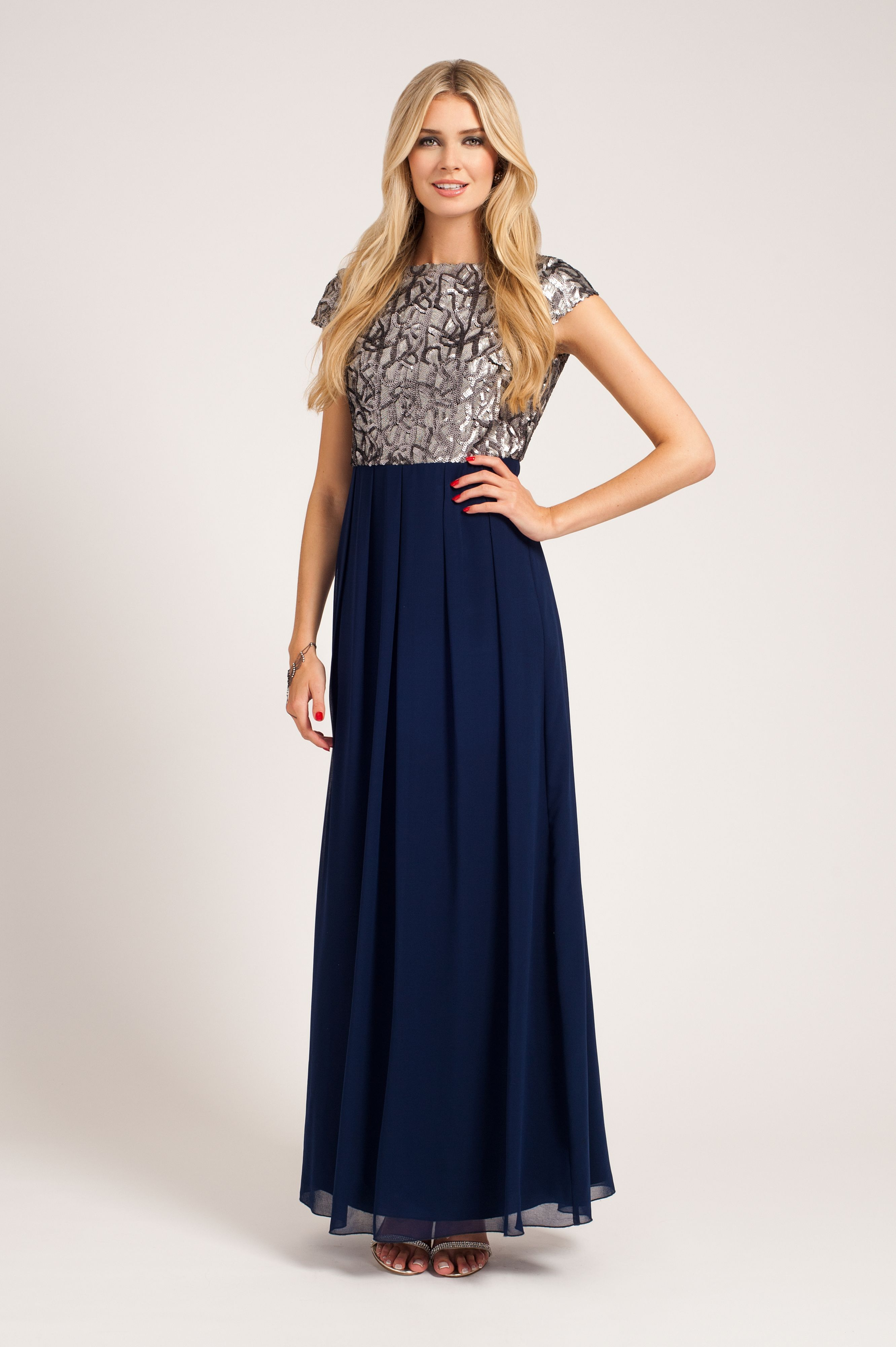 Sequin top cap sleeved maxi dress