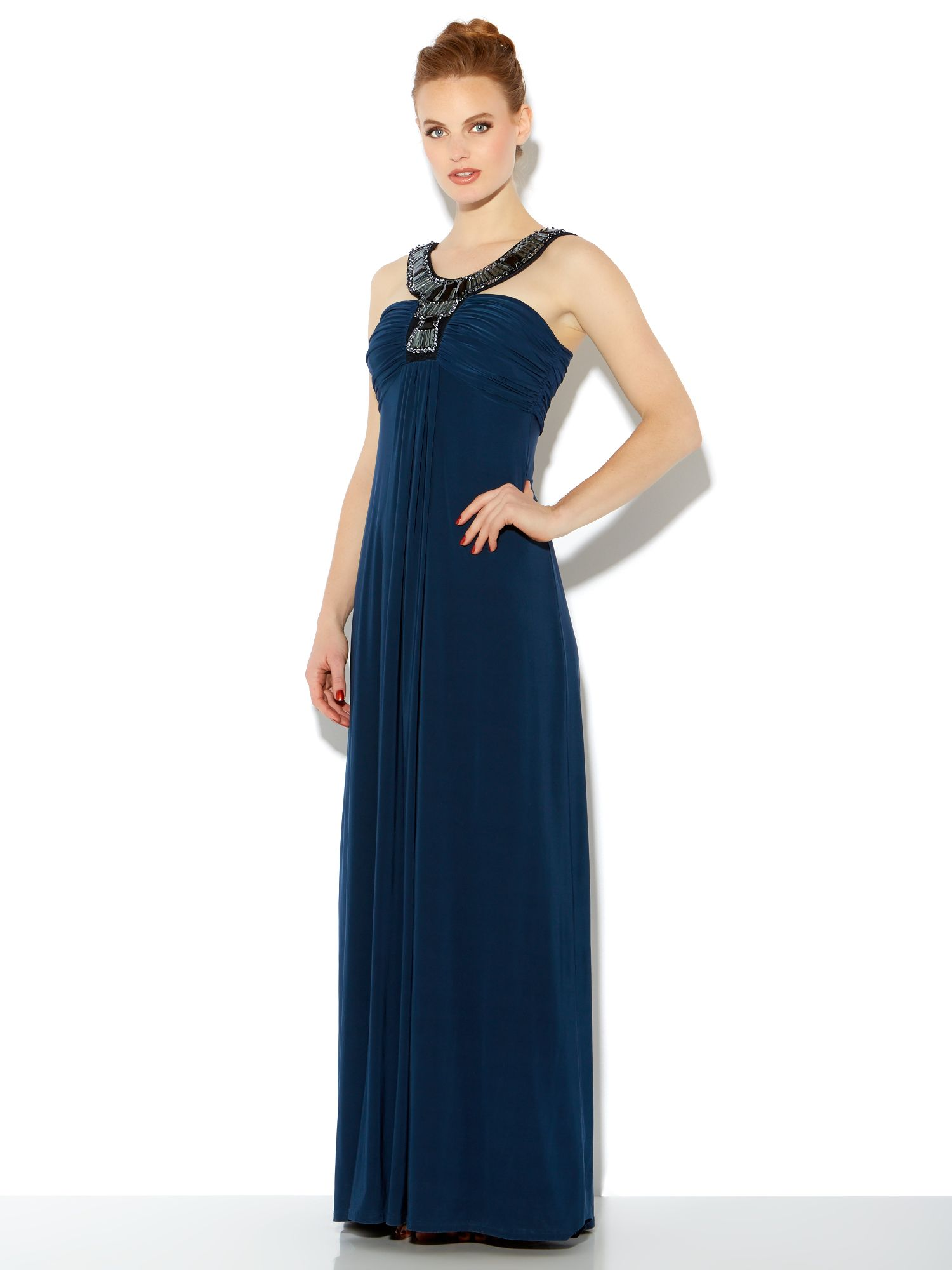 Deco collar bandeau maxi dress