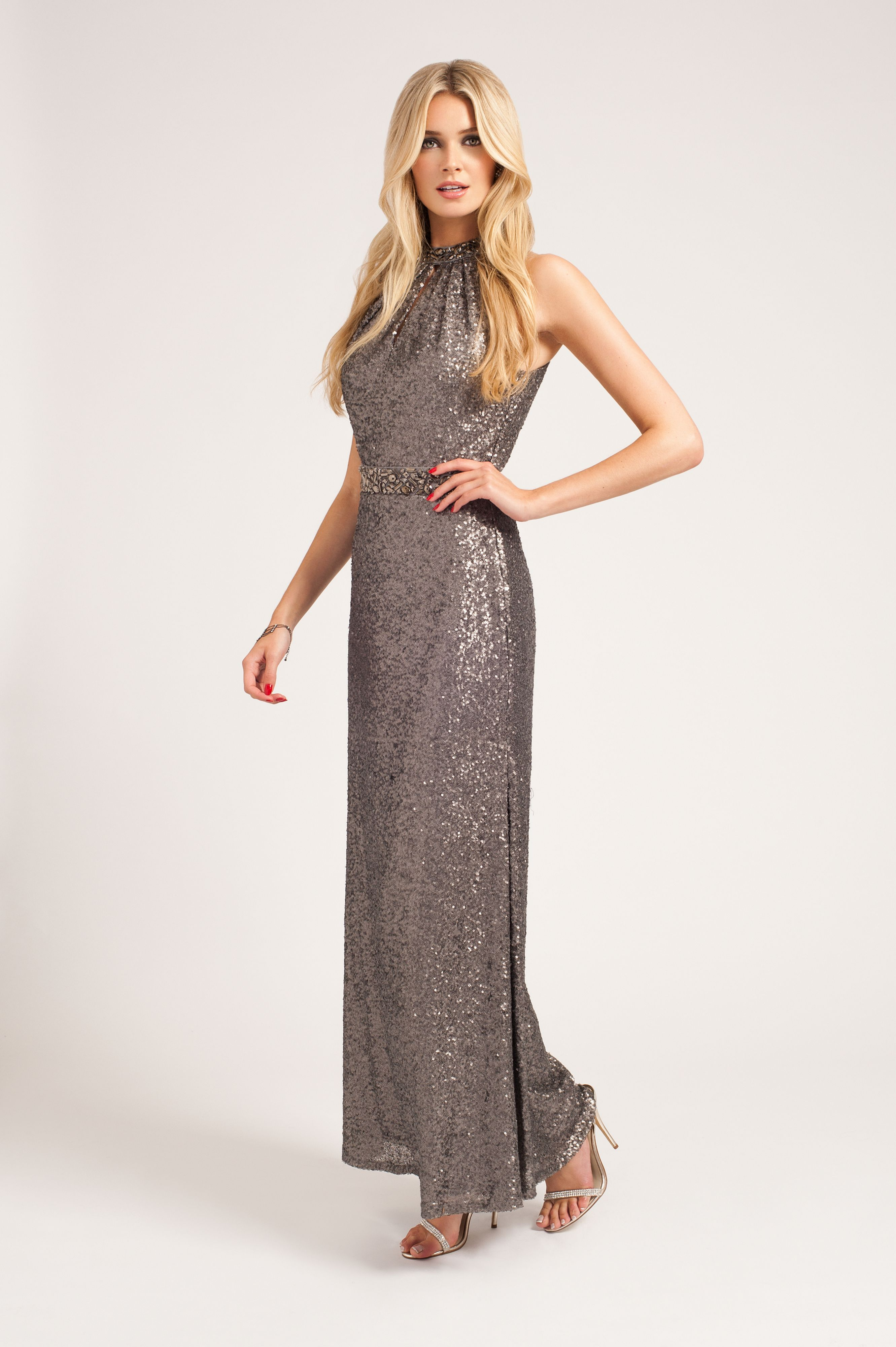 Sequin halter neck maxi dress