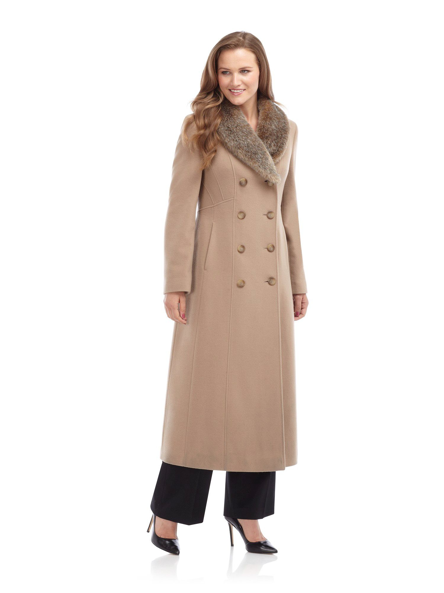 Long camel wool coat