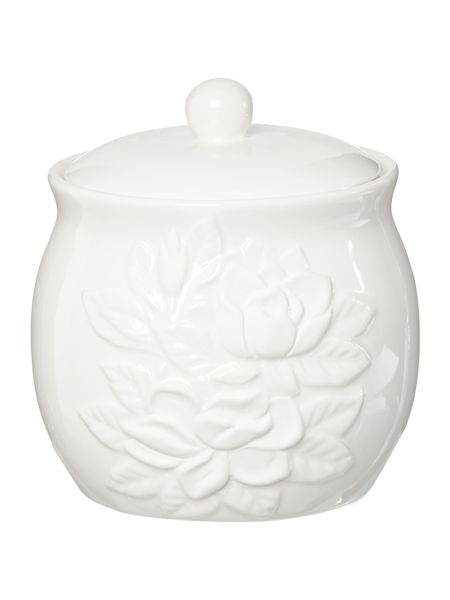 Shabby Chic White debossed floral cotton jar