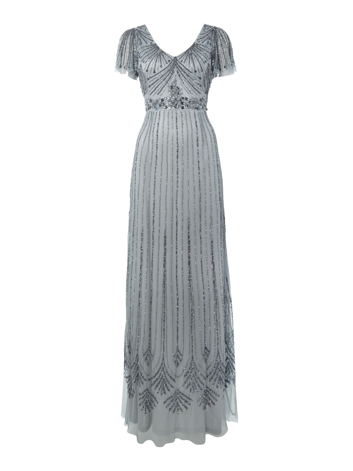 Angel Sleeve Beaded Dress
