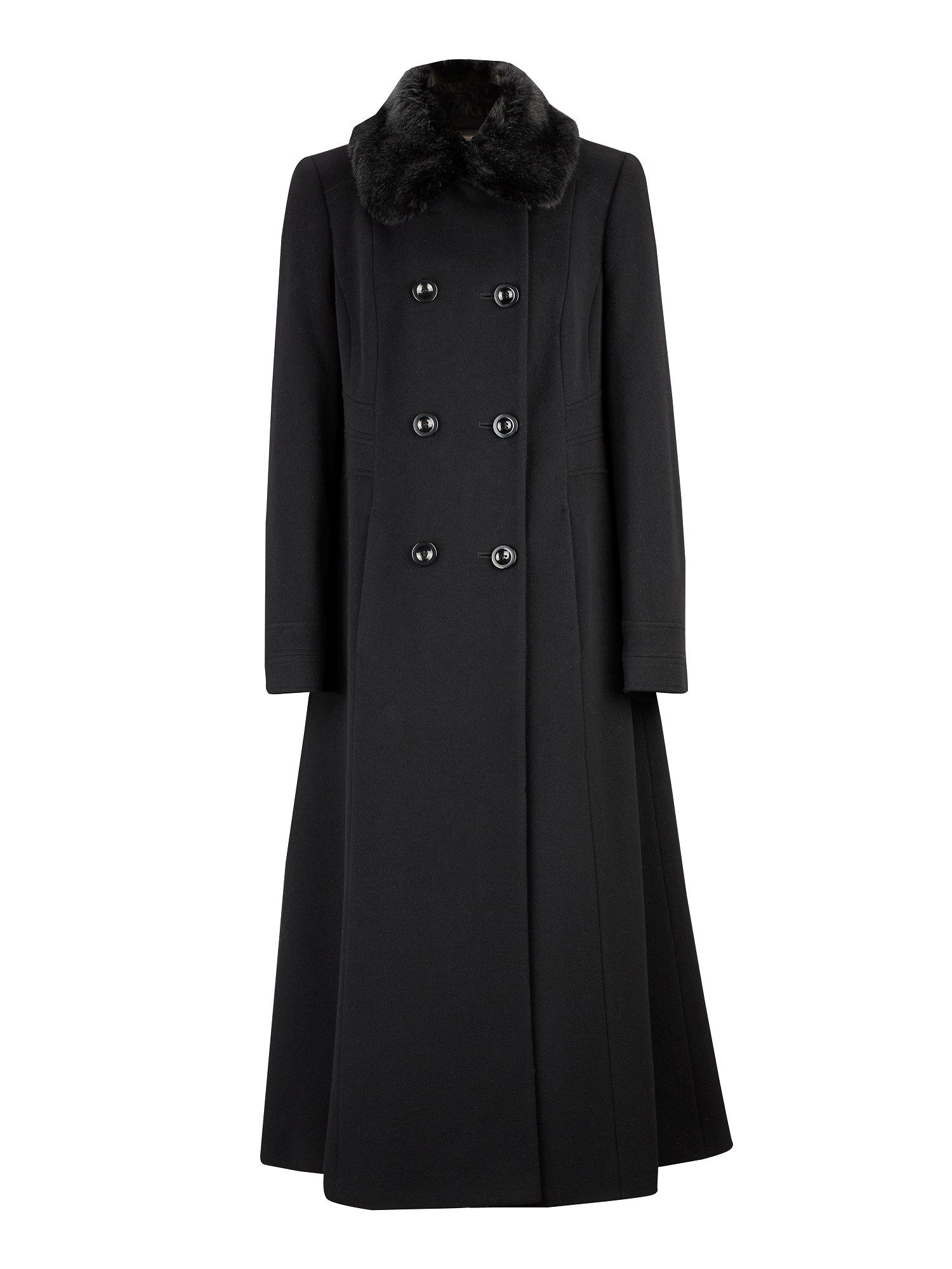 Long fit and flare black coat