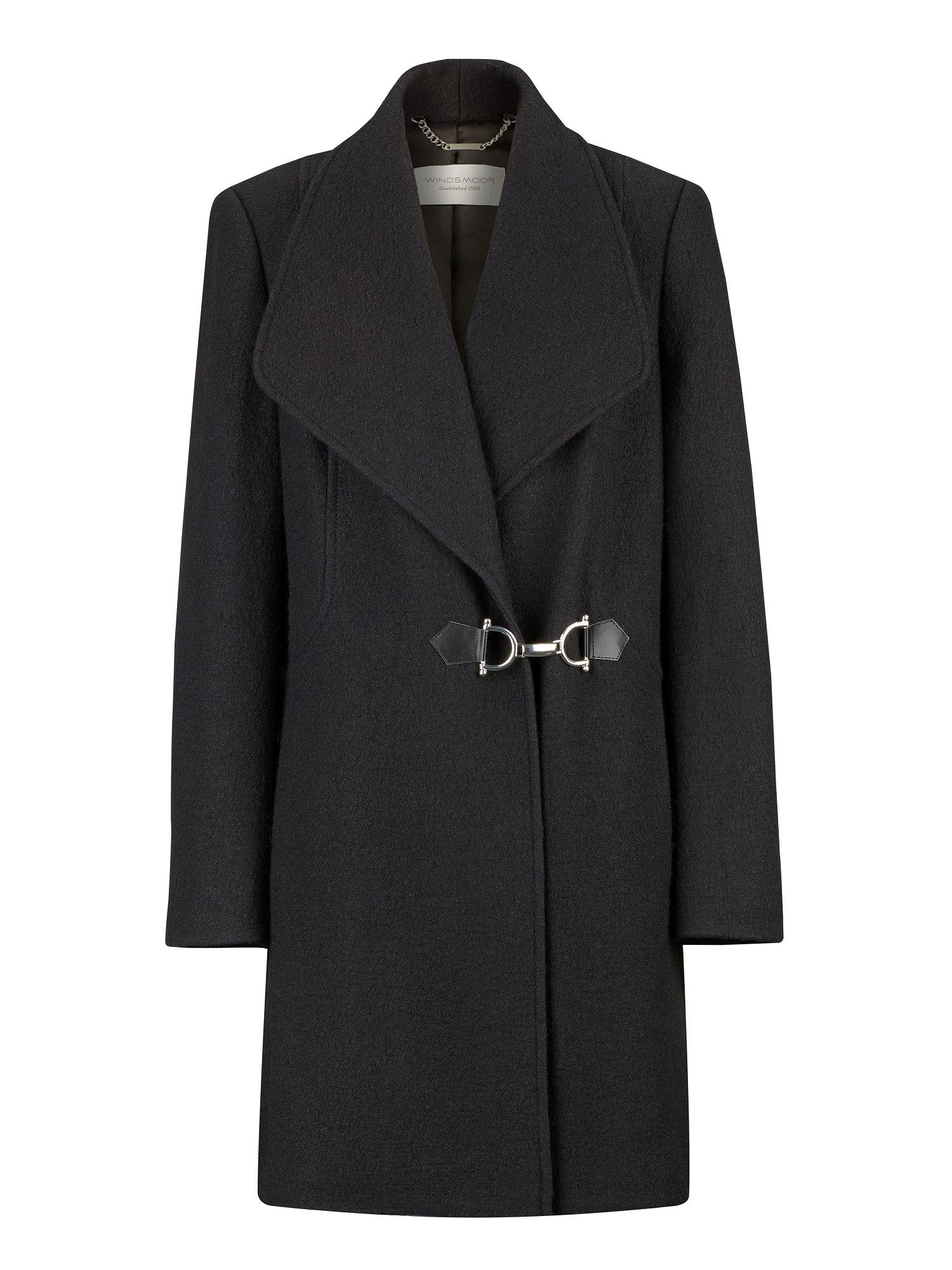 Mid-length black wool coat