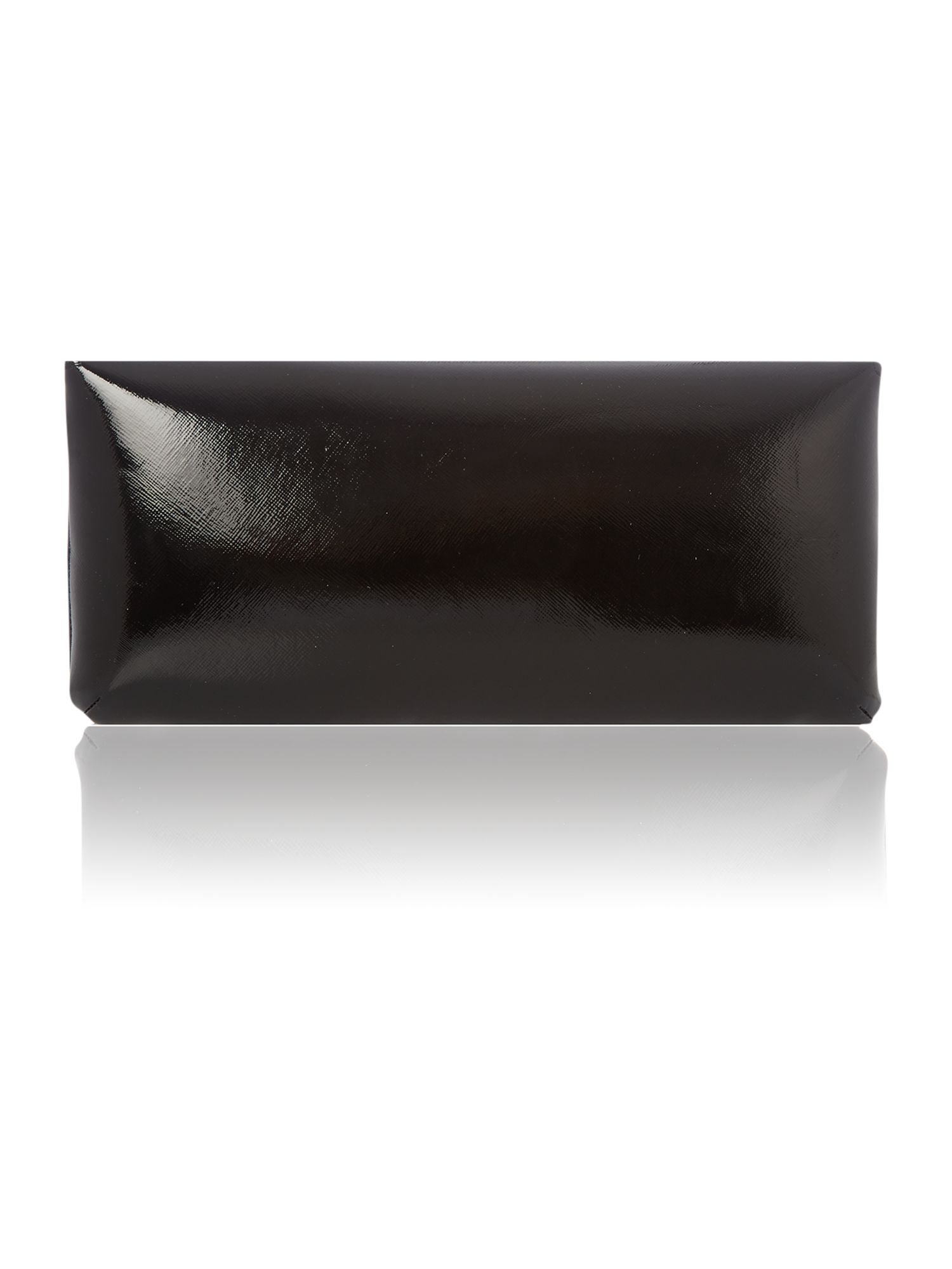 Black patent envelope clutch bag