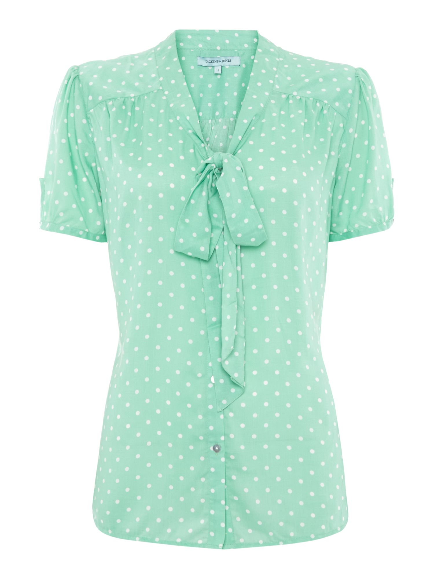 Spot top blouse with bow