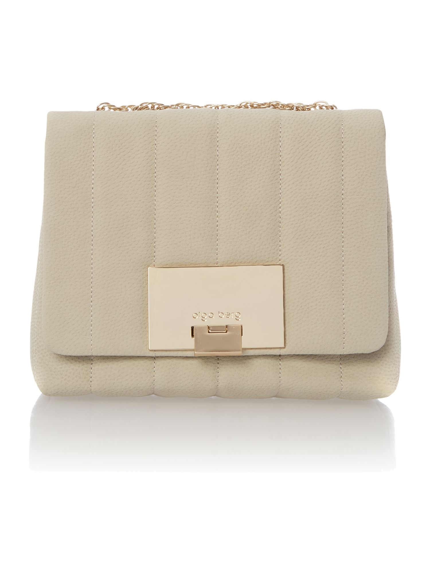 Neutral quilted chain crossbody bag