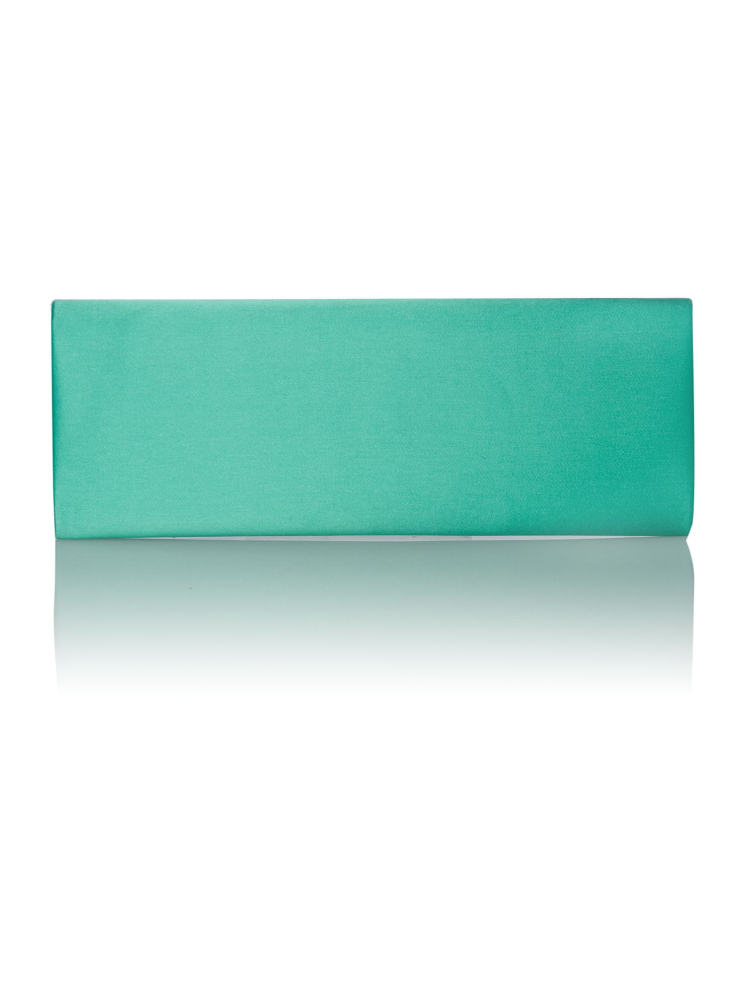 Green satin flap over clutch bag