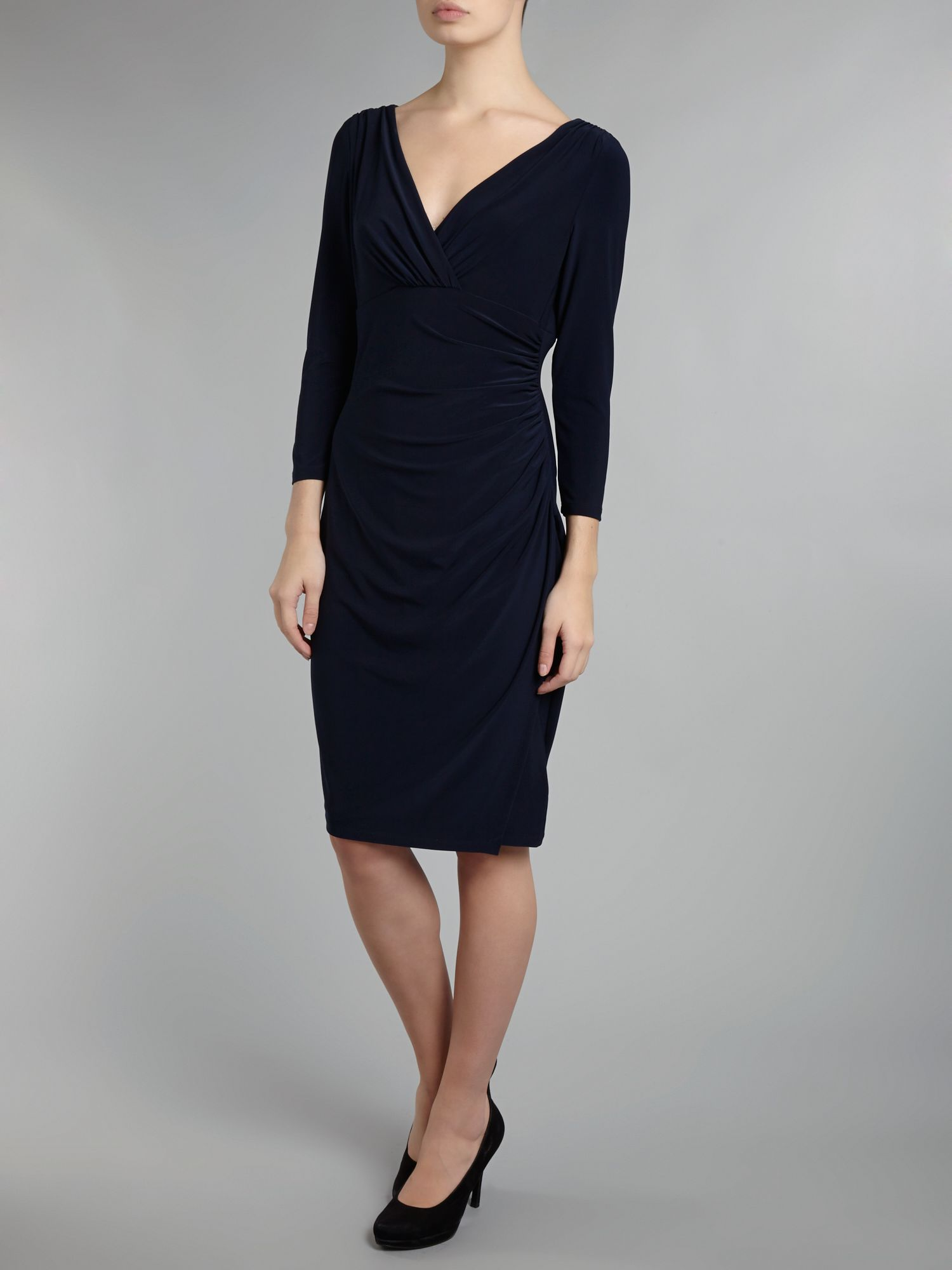 Long sleeve v neck jersey dress