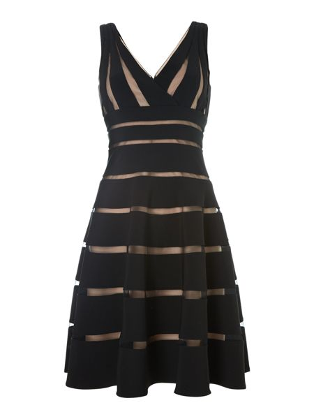 JS Collections Striped mesh dress