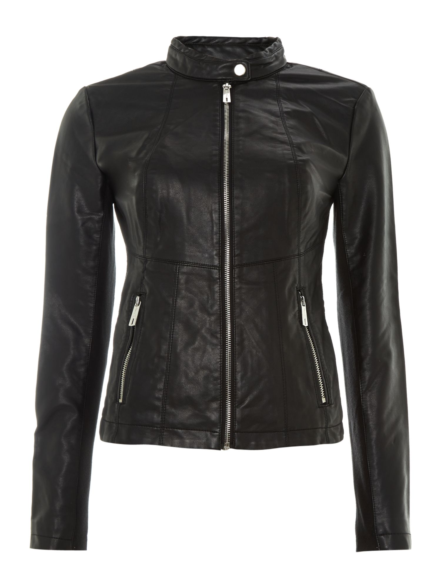 Zip Up leather biker jacket