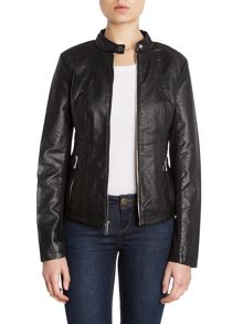 Zip Up leather look biker jacket