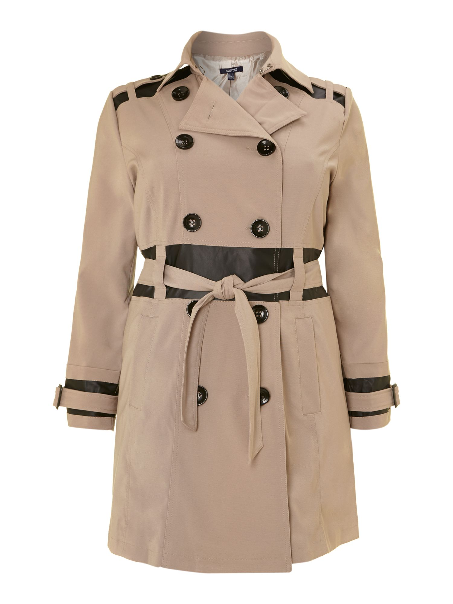 Contrast trim double breasted trench
