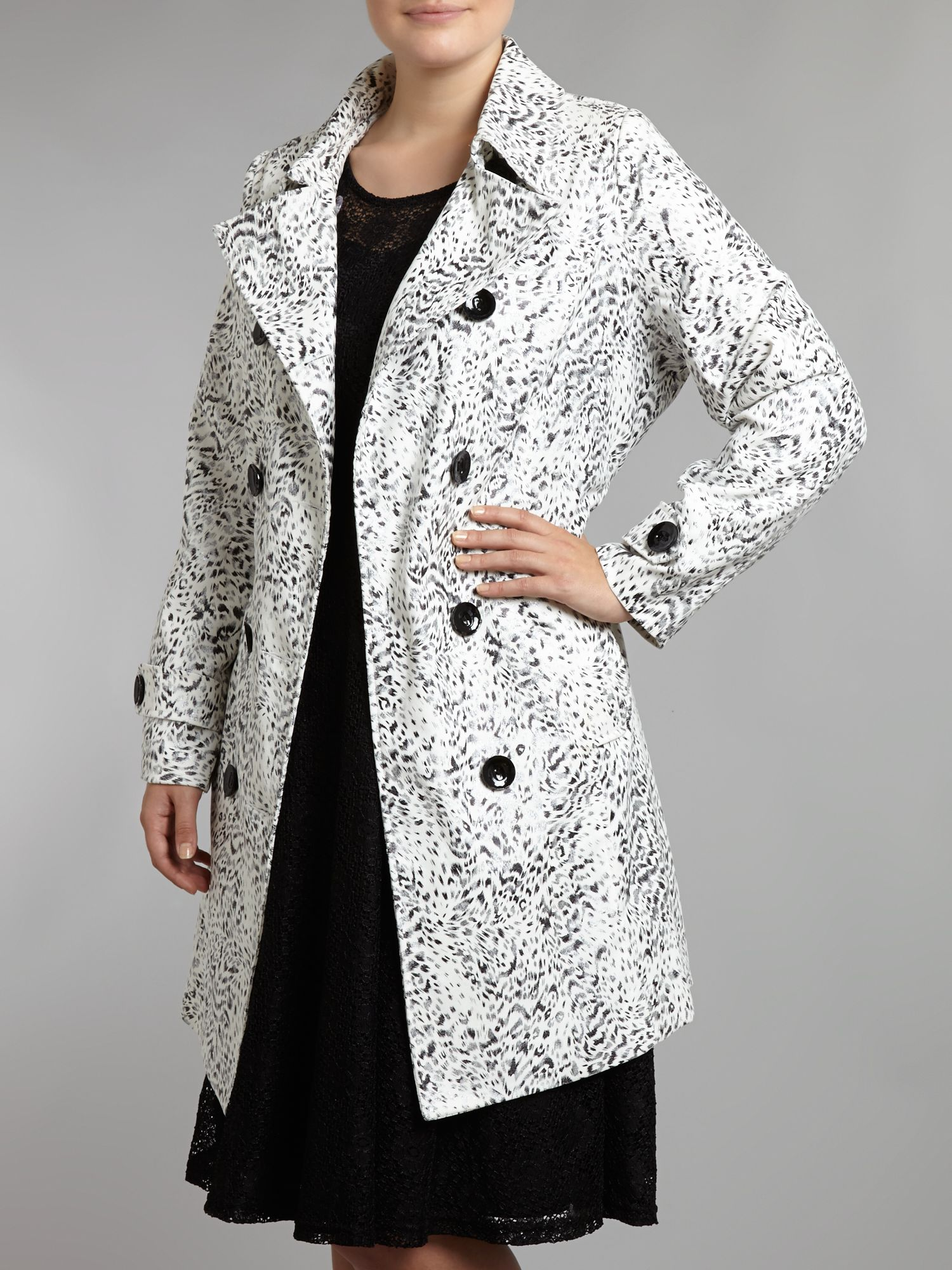 Abstract animal print trench coat