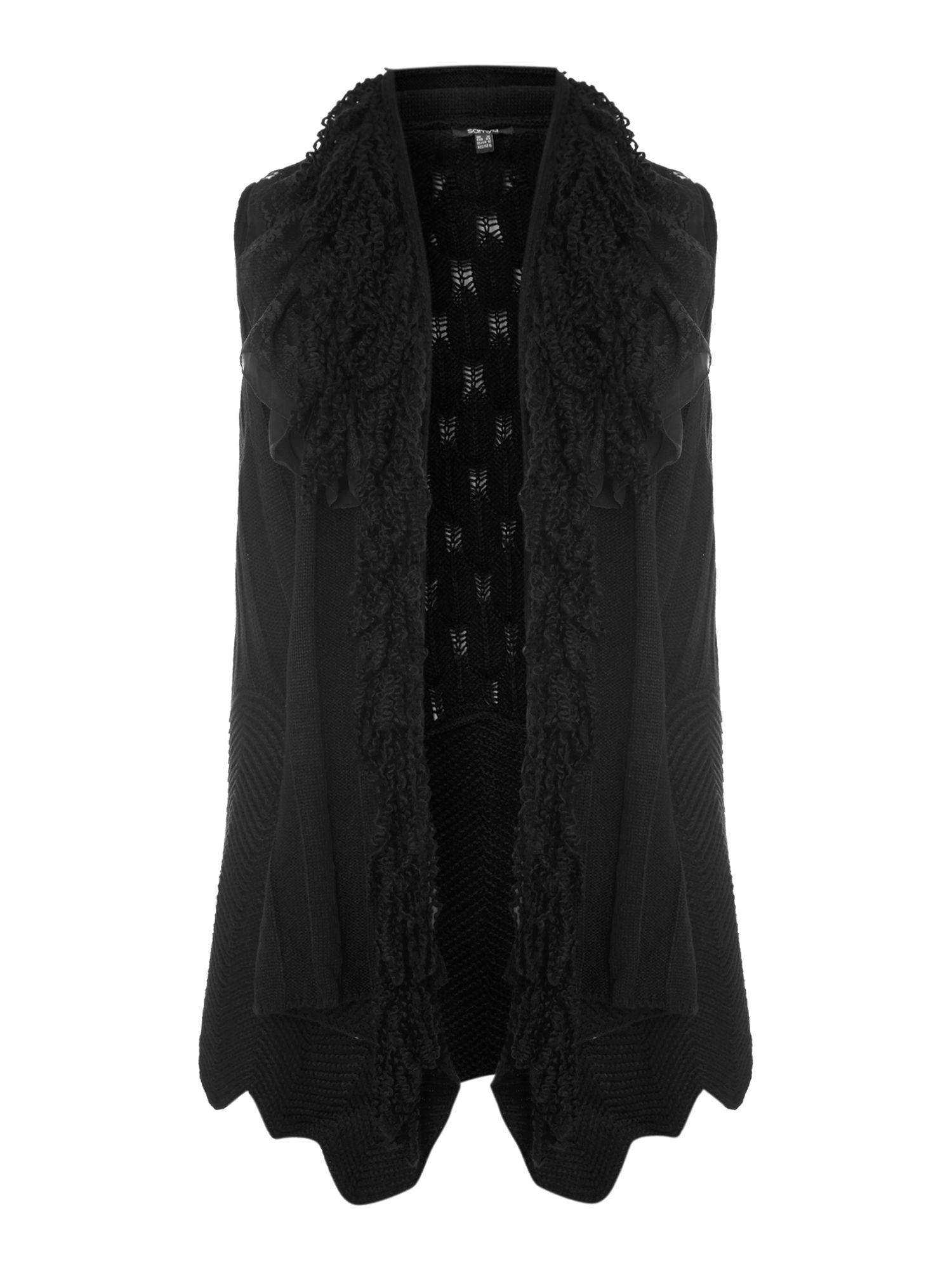 Sleeveless frill knitted cardigan