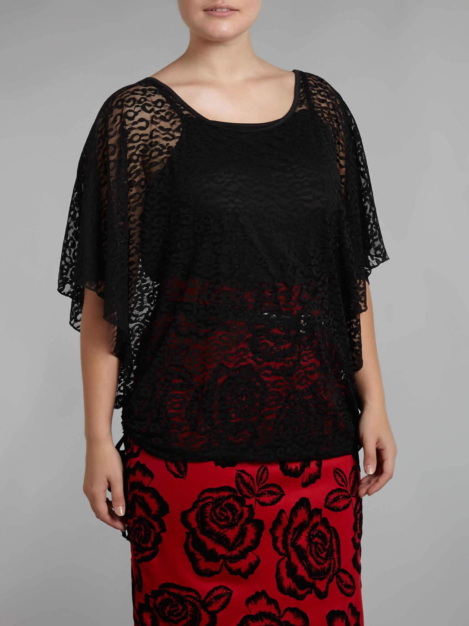 Animal print sheer batwing top