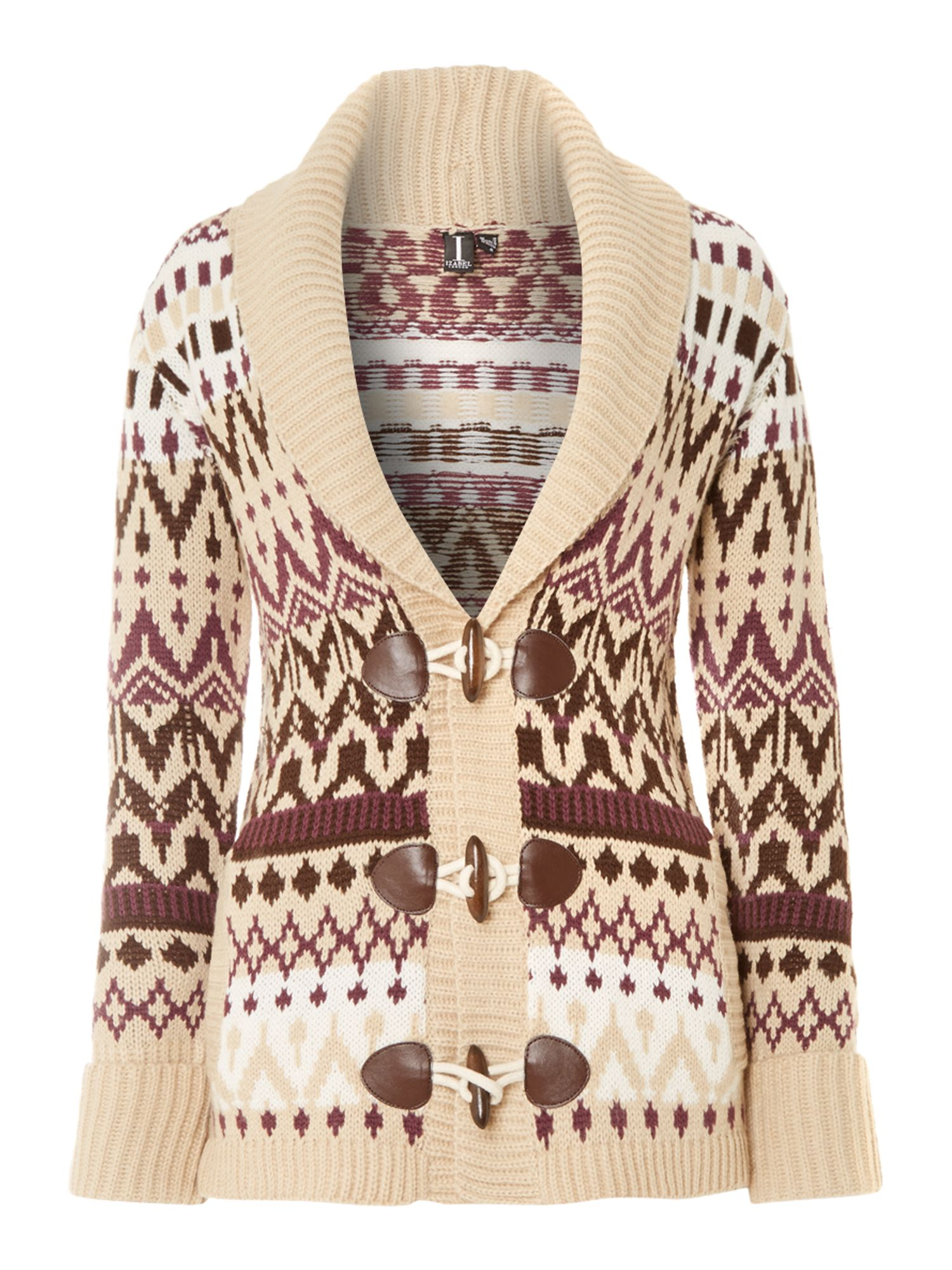 V neck cardigan in fairisle print