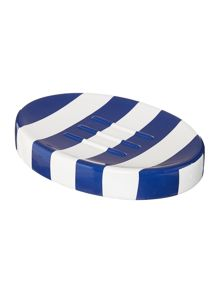 Linea Striped soap dish in blue
