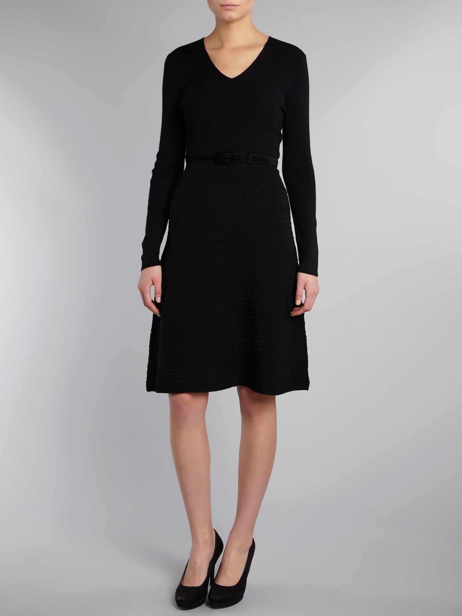 Long sleeve v neck dress with belt