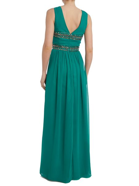 JS Collections Embellished chiffon maxi dress