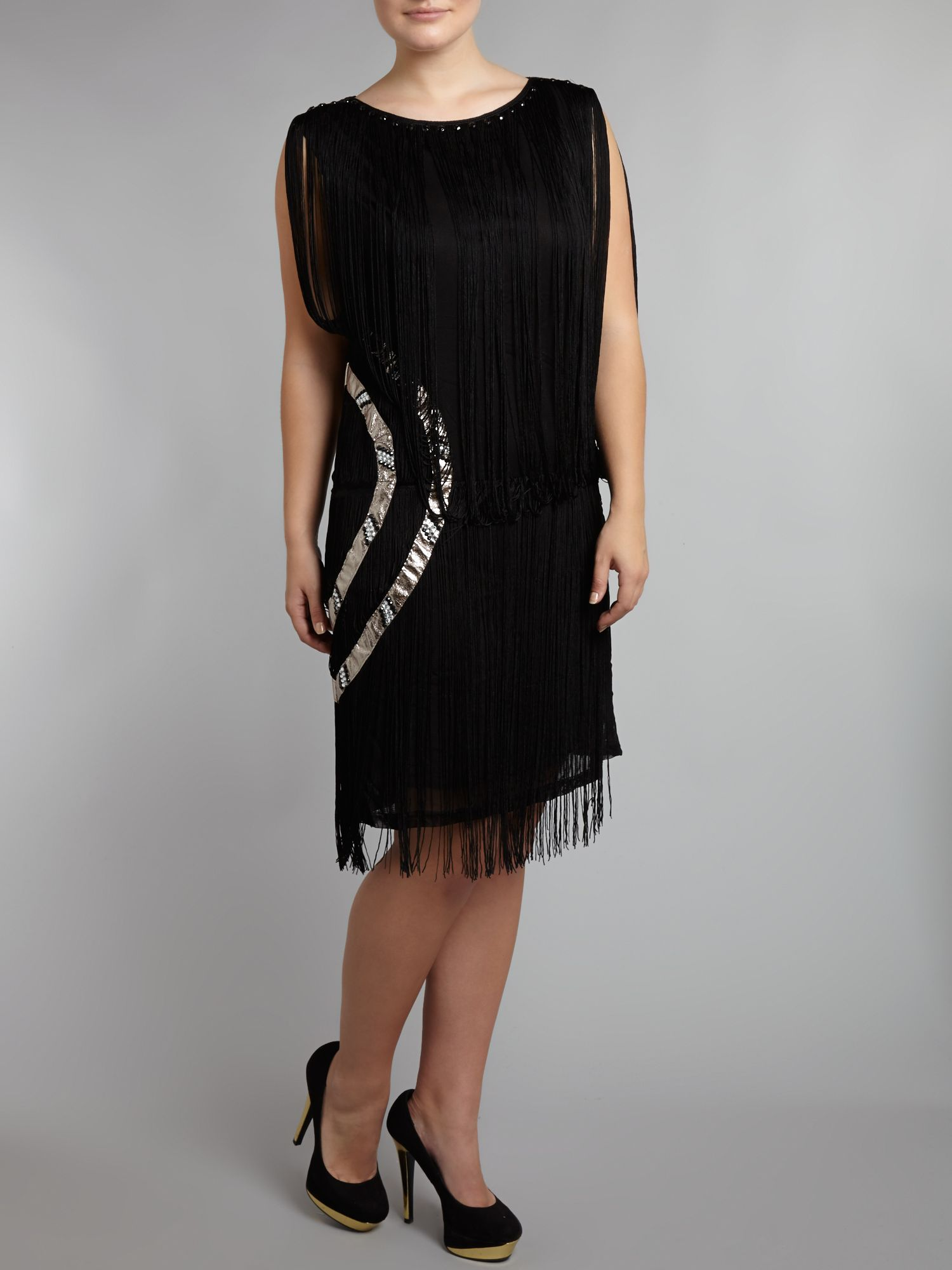 Sleeveless diamante tassle dress