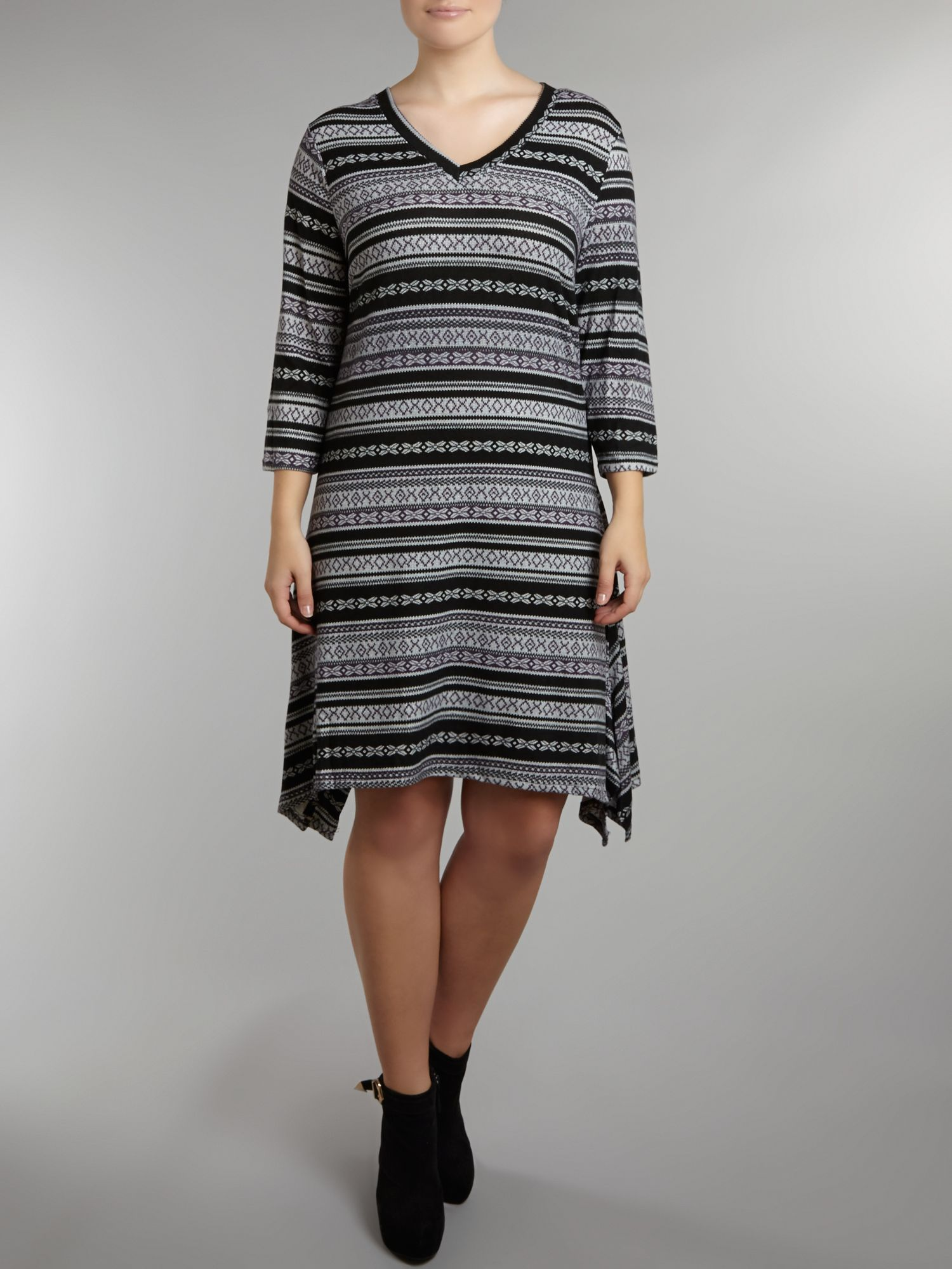 Aztec print 3/4 Sleeve Dress