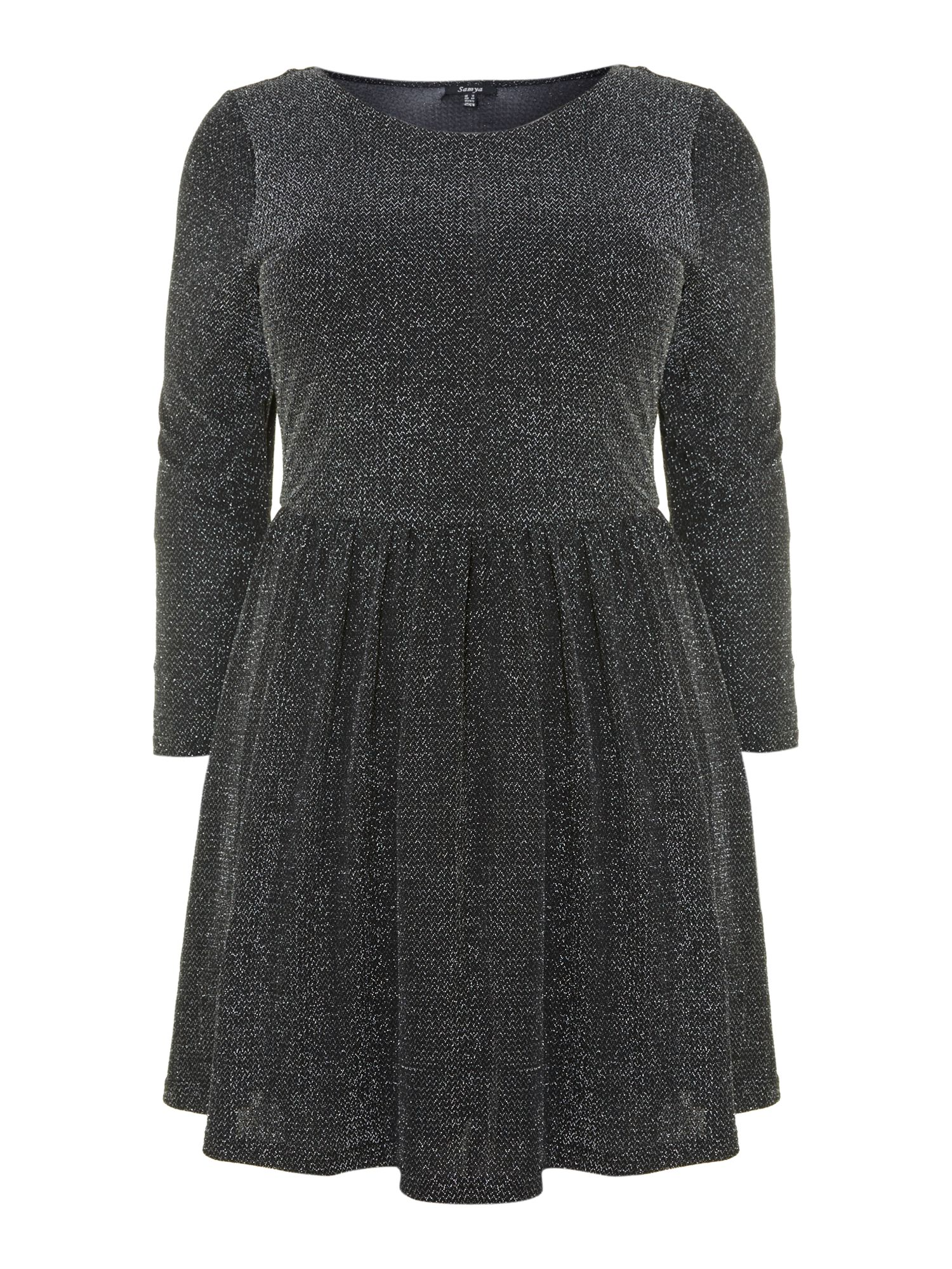 Shimmery long sleeve smock dress