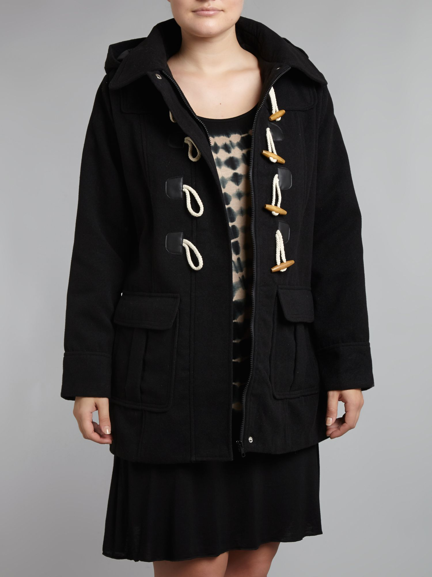 Duffle coat with hood