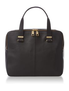 Leather Black Pisces double zip bowler bag