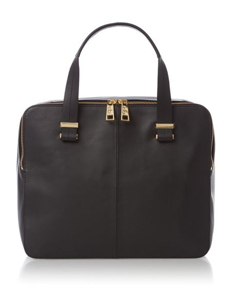 Pied a Terre Leather Black Pisces double zip bowler bag